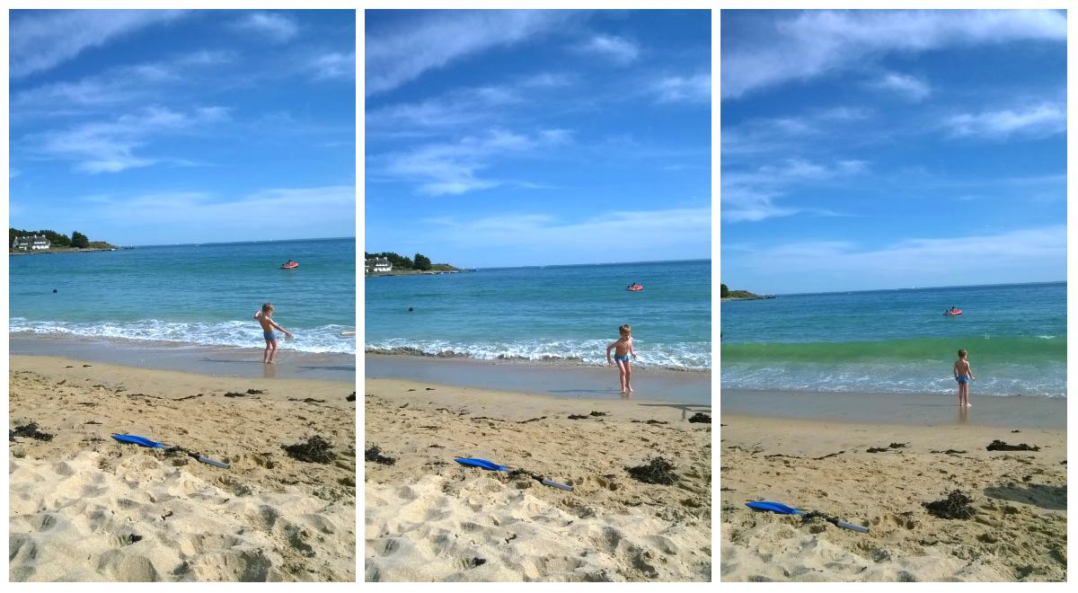 E en la playa